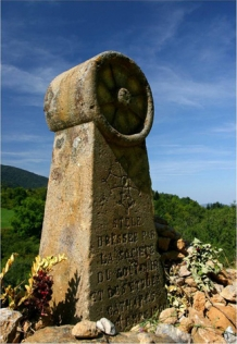 Cathars Monument erected in a place were Cathars were burned under Montsegourin text