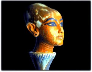 Blue eyes Sculpture of head of Tutankhamun