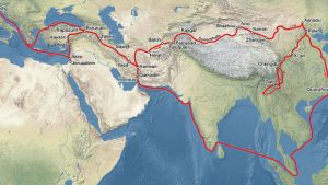 Map of marko Polo s traveling on the silk road